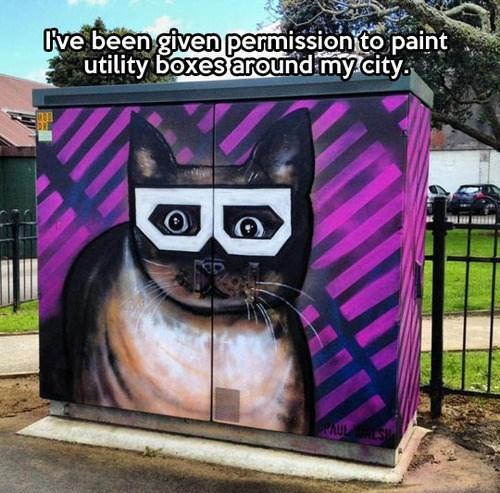 Street Art beautify Cats utility box - 7868493056