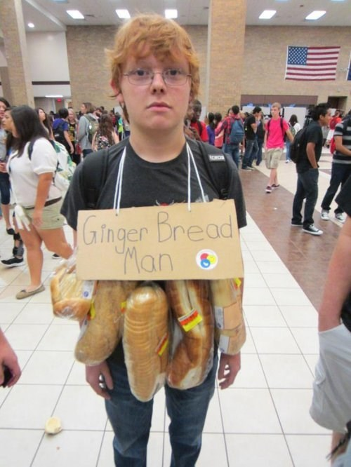 costume,halloween,puns,gingerbread man,gingers,poorly dressed,g rated