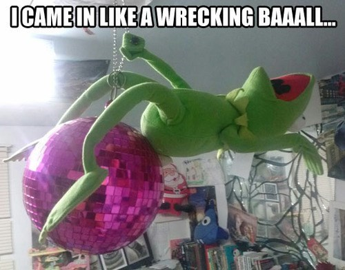 kermit the frog,miley cyrus,wrecking ball