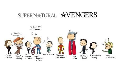 Fan Art Supernatural superheroes avengers - 7869259520