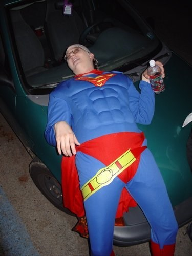 costume wtf drunk halloween passed out funny superman - 7870231808