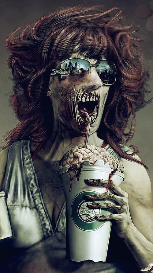 art Starbucks zombie - 7870380544