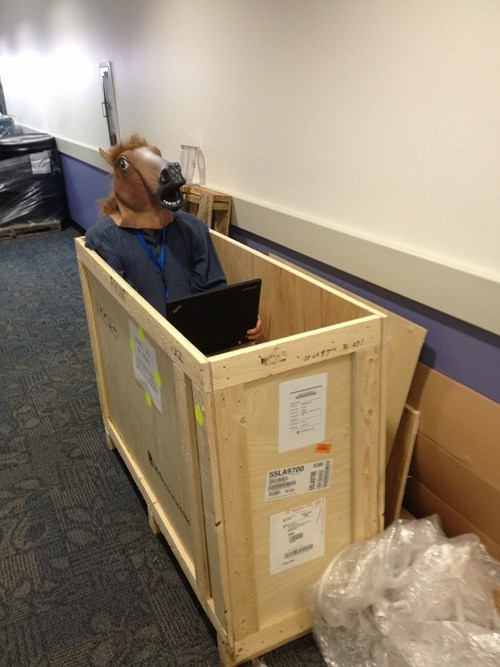 cubicles,think outside the box,horse mask