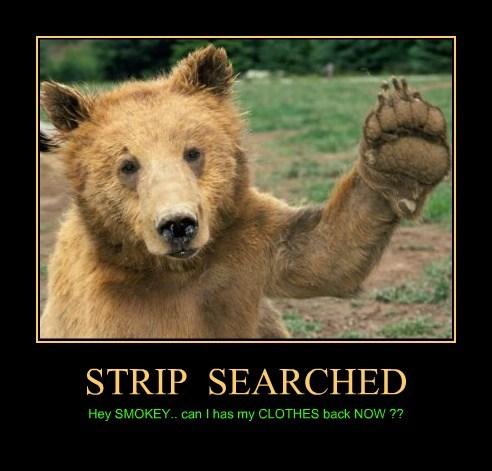 STRIP SEARCHED Hey SMOKEY.. can I has my CLOTHES back NOW ??