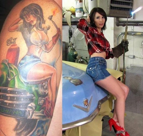 cars tattoos babes funny - 7873027328