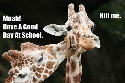 school,goodbye kiss,mom,giraffes