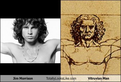 vitruvian man totally looks like jim morrison