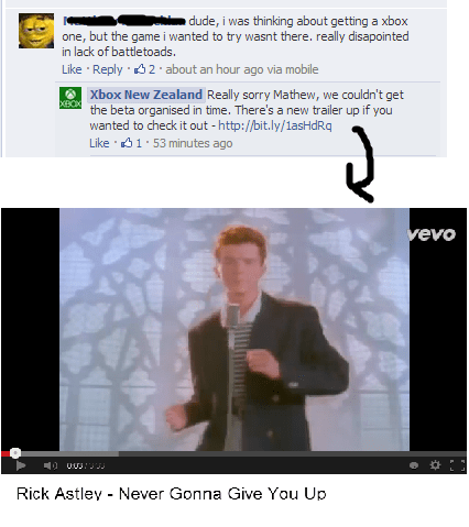 customer service trolling rickrolled microsoft - 7874372096