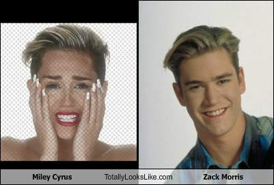 totally looks like miley cyrus zack morris funny