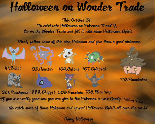 Pokémon,halloween,wonder trade