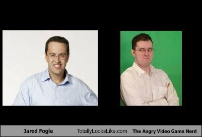 angry video game nerd,jared fogle,totally looks like,Subway,funny