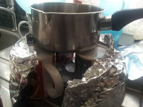 candles,kettle,mugs,foil,there I fixed it