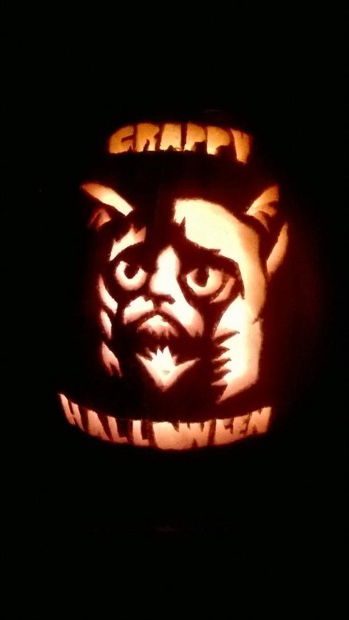 hallowmeme Grumpy Cat jack o lanterns g rated - 7876073728