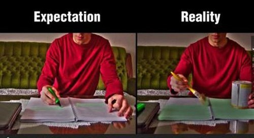 studying,homework,highlighters,Reality Check