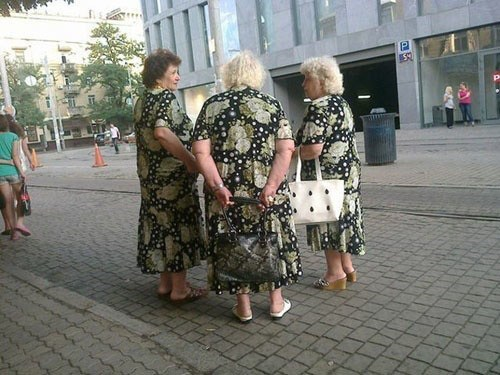 Doncha hate it when you're all wearing the same curtains!