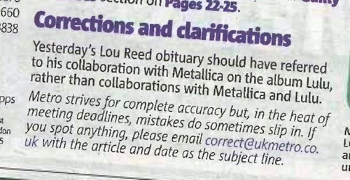 Lou Reed,metallica,corrections