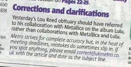 Lou Reed metallica corrections - 7877619200
