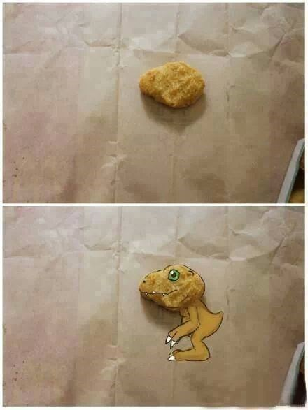 digimon agumon digifriday it's an extra post get over it chicken nuggets - 7877917696