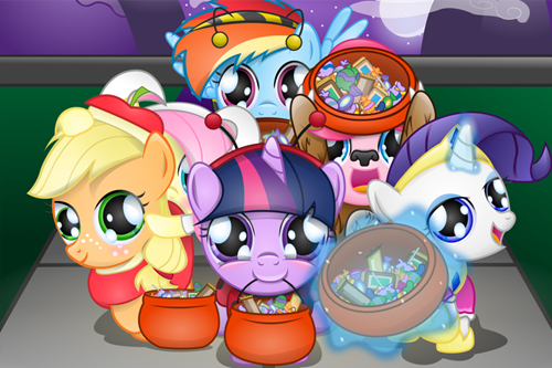 Fan Art,mane 6,halloween,nightmare night,squee