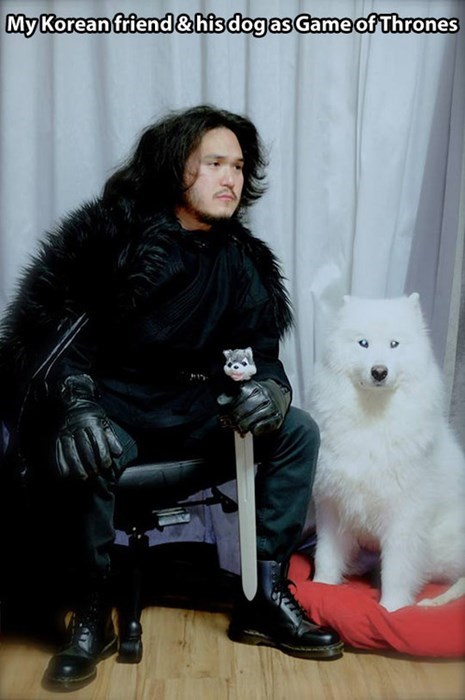 costume Jon Snow dogs ghost halloween Game of Thrones - 7878060800