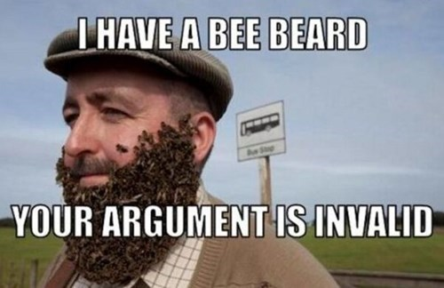 wtf your argument is invalid bees beards