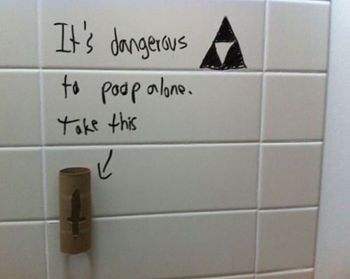 Bathroom Graffiti the legend of zelda nerdgasm hacked irl video games funny - 7878137344