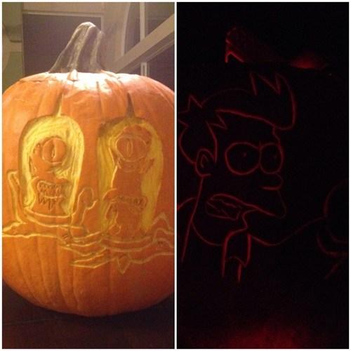 pumpkins,jack o lanterns,cartoons,Futurama Fry