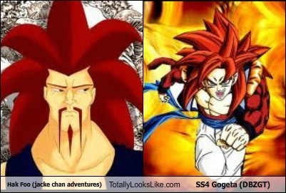 Hak Foo (jacke chan adventures) Totally Looks Like SS4 Gogeta (DBZGT)