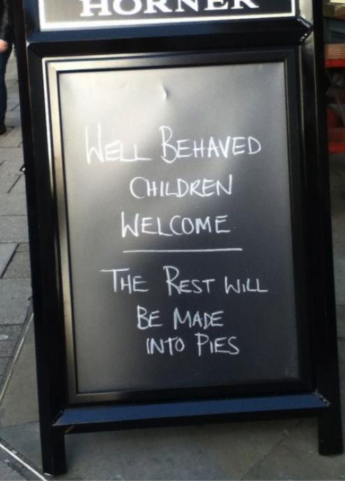 kids restaurant signs monday thru friday g rated - 7879311872