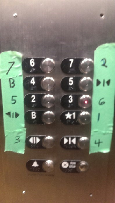 elevators,buttons,duct tape,there I fixed it,g rated