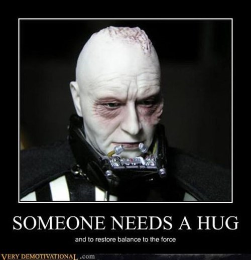 Sad star wars toys hug darth vader