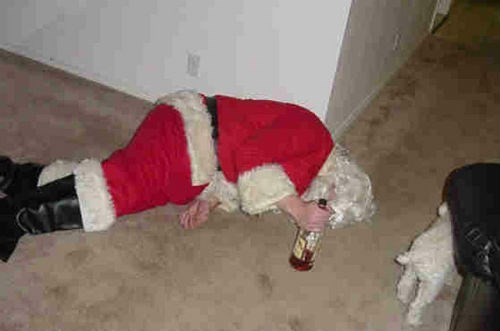 christmas,passed out,santa,funny
