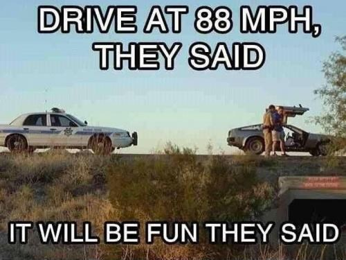 DeLorean back to the future speeding police