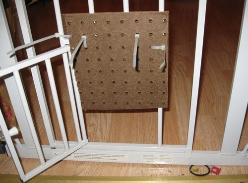 zip ties peg board there I fixed it baby gate - 7881662464