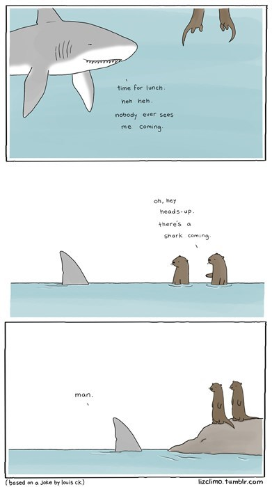 otters,sharks,funny,web comics