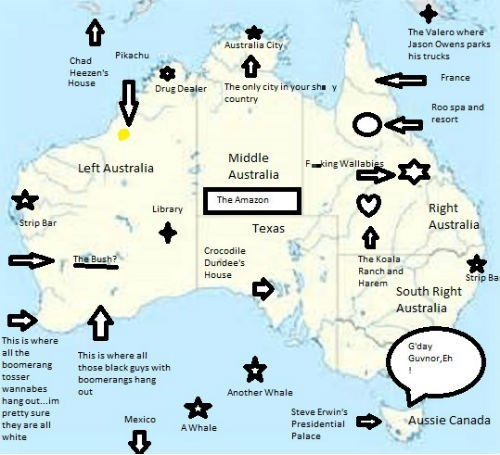 Map Of Australia Funny.An American S Map Of Australia Graphjam Funny Graphs