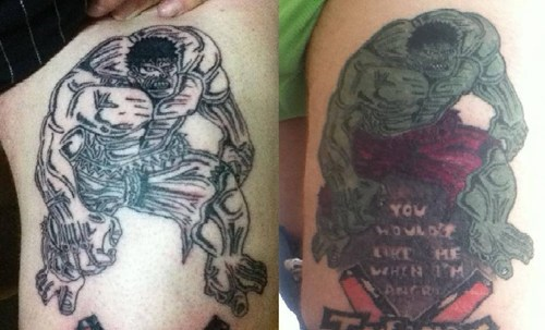 tattoos,incredible hulk,funny