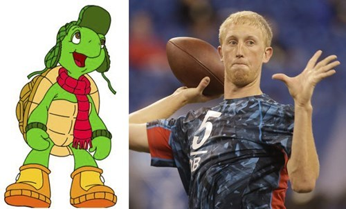 mike glennon totally looks like funny franklin the turtl