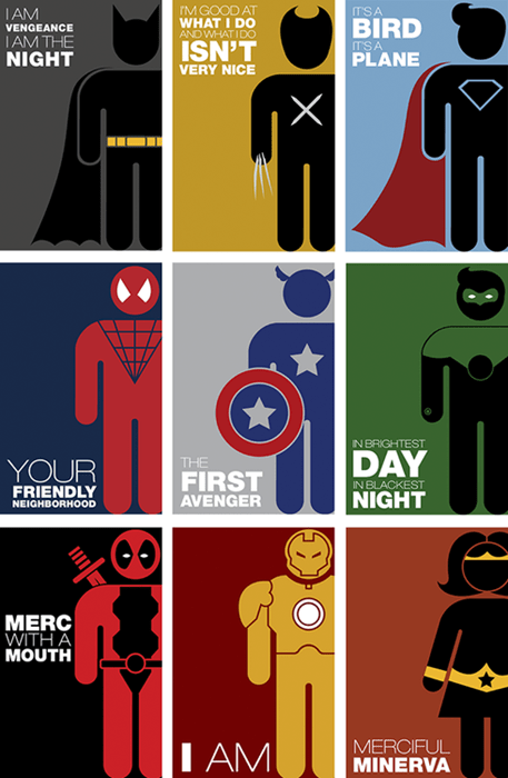 pictogram,superheroes,batman,wolverine