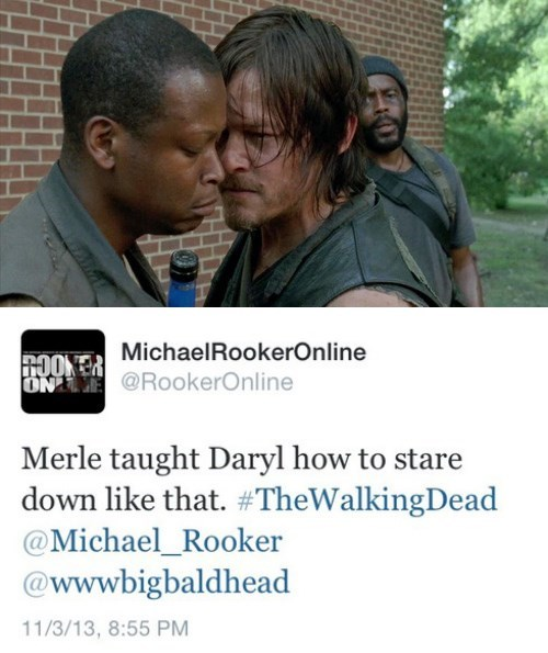 daryl dixon celebrity tweets Michael Rooker stare down merle dixon - 7885620224