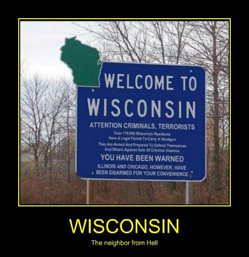 chicago guns funny wisconsin sign - 7885657856