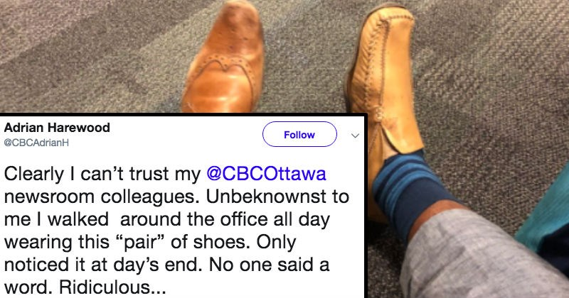 man sharing pic of mismatched shoes worn to work