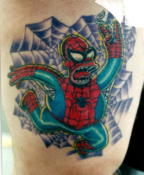 homer simpson tattoos Spider-Man funny - 7888542720