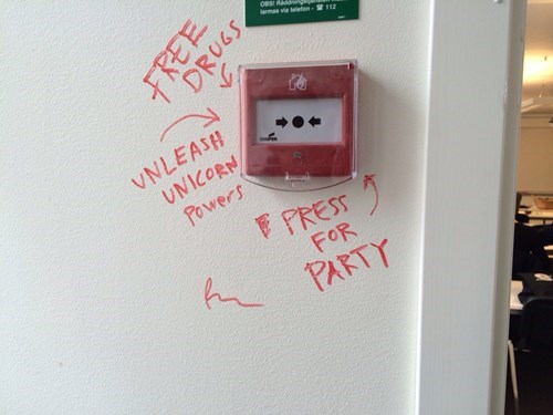 fire alarms unicorns party hard