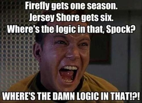 william shatner star trek captain kirk firefly gets one season jersey shore gets six where's the logic in that spock? where's the damn logic in that