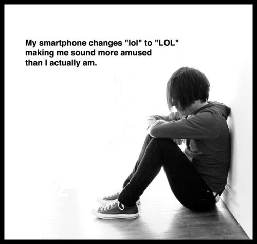 autocorrect cell phone go cry emo kid
