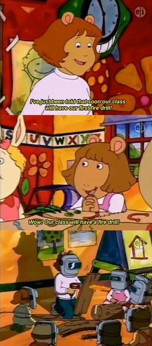 school,arthur,puns,cartoons,fire drill,television