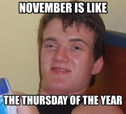 november,Thursday,really high guy,10 guy