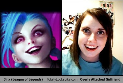 overly attached girlfriend totally looks like jinx league of legends - 7890942976