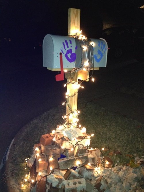 bricks,duct tape,christmas lights,mailboxes,there I fixed it